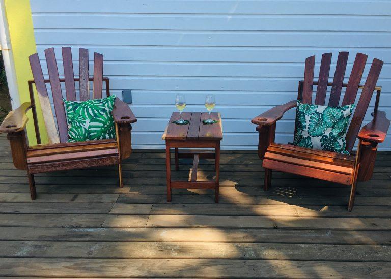 Pool chairs on pool deck